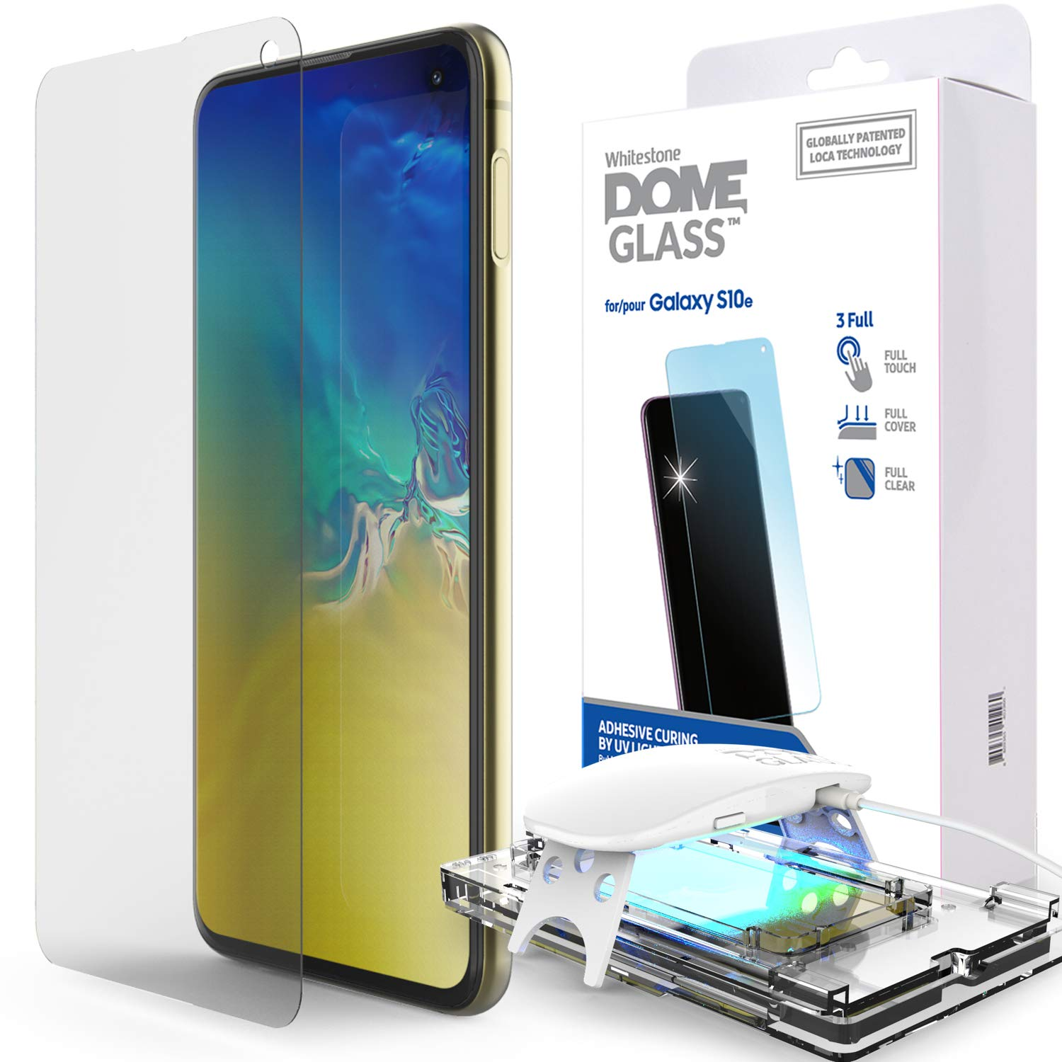 Galaxy S10e Screen Protector, [Dome Glass] Full Cover Tempered Glass [LOCA Tech] Easy Install Kit by Whitestone for Samsung Galaxy S10e (2019) - 1 Pack by Dome Glass