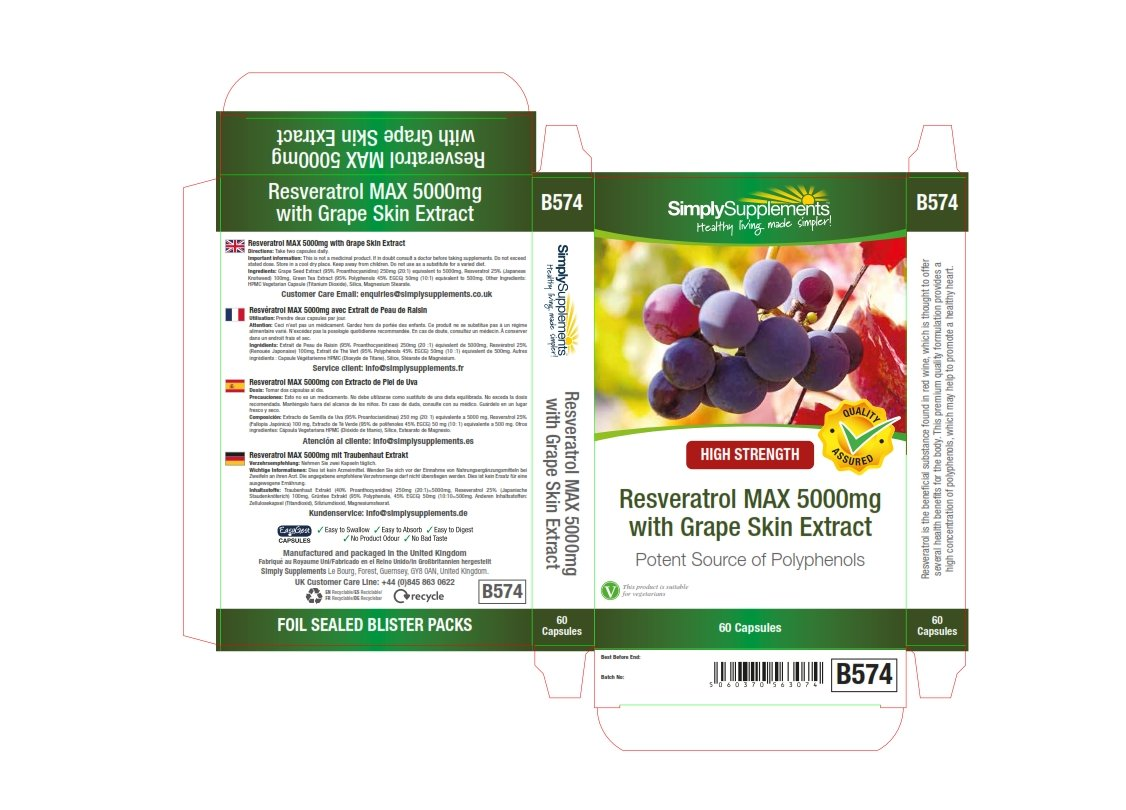 Co colour care guernsey - Simplysupplements Resveratrol Max 5000mg 60 Capsules 100 Money Back Guarantee Manufactured In The Uk Amazon Co Uk Health Personal Care