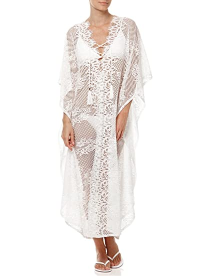 3eae60f3452 Image Unavailable. Image not available for. Color  Women Lacing Bikini  Cover Up Plunging V-Neck Loose Beach Dress Beachwear ...