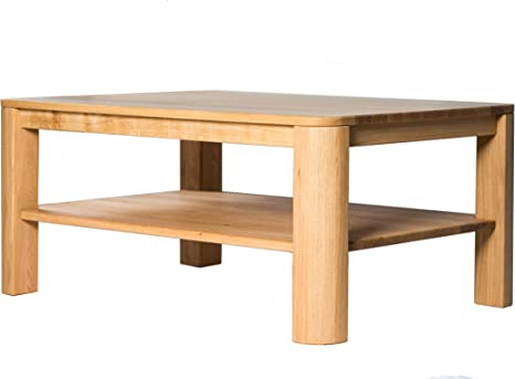 Amazon Brand Alkove Hayes Rectangular Solid Wood Coffee Table With 1 Shelf 100 X 70 X 45cm Wild Oak Amazon Co Uk Kitchen Home