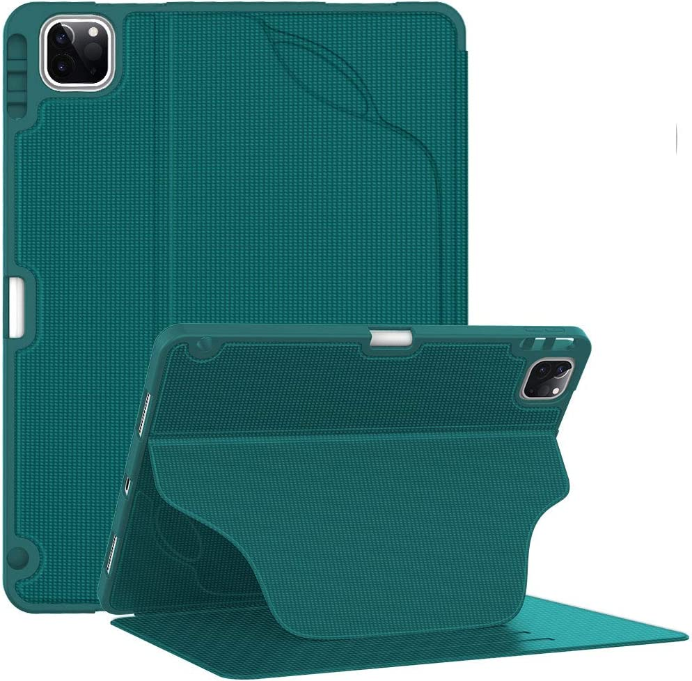Soke Luxury Series Case for New iPad Pro 11 Inch 2020 & 2018 - [Built-in Pencil Holder + 6 Magnetic Stand Angles + 360 Full Protection + Premium PU Leather] - Sleep/Wake Cover,New Teal