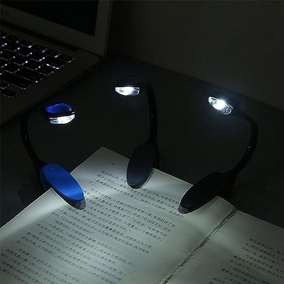 REFURBISHHOUSE/Mini Flexible Clip-on Bright Booklight LED Reise Buch Leselampe Weisslicht Buch Halter kleine Tischlampe Licht kleine Geschenke blau