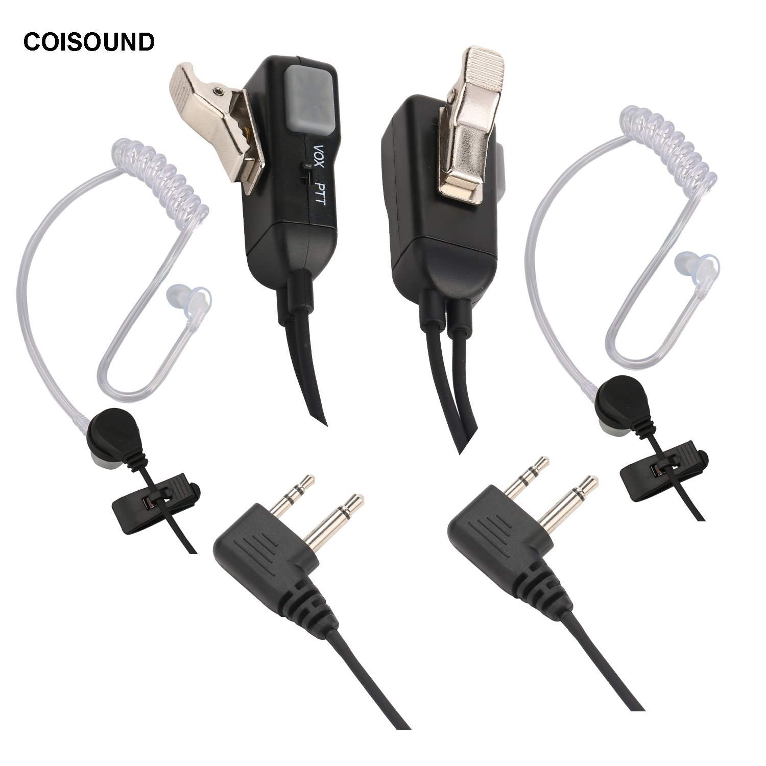 COISOUND Two way Radio Headset Noise Canceling Transparent Security  Earphones works with Midland GMRS/FRS Radios with PTT/VOX – Pair