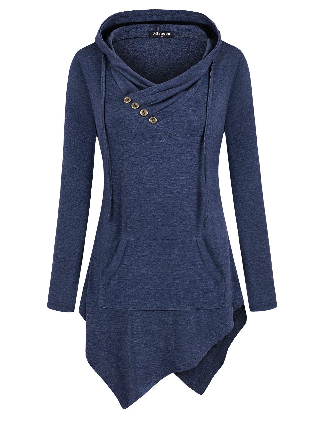 Miagooo Uneven Hemline Hoody Shirt Pocket Tunic Long Sleeve Casual Tops