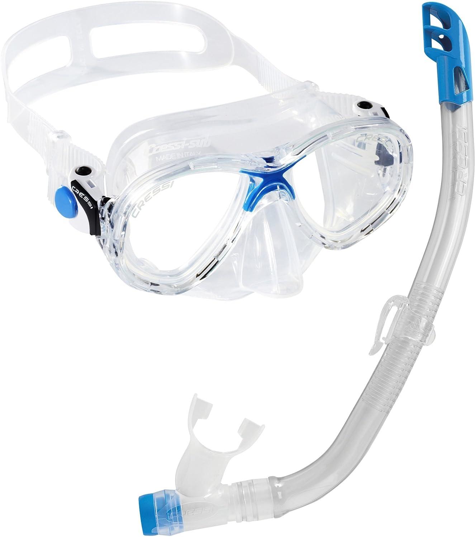 Cressi Marea VIP Gafas y tubo de buceo para niños azul azul