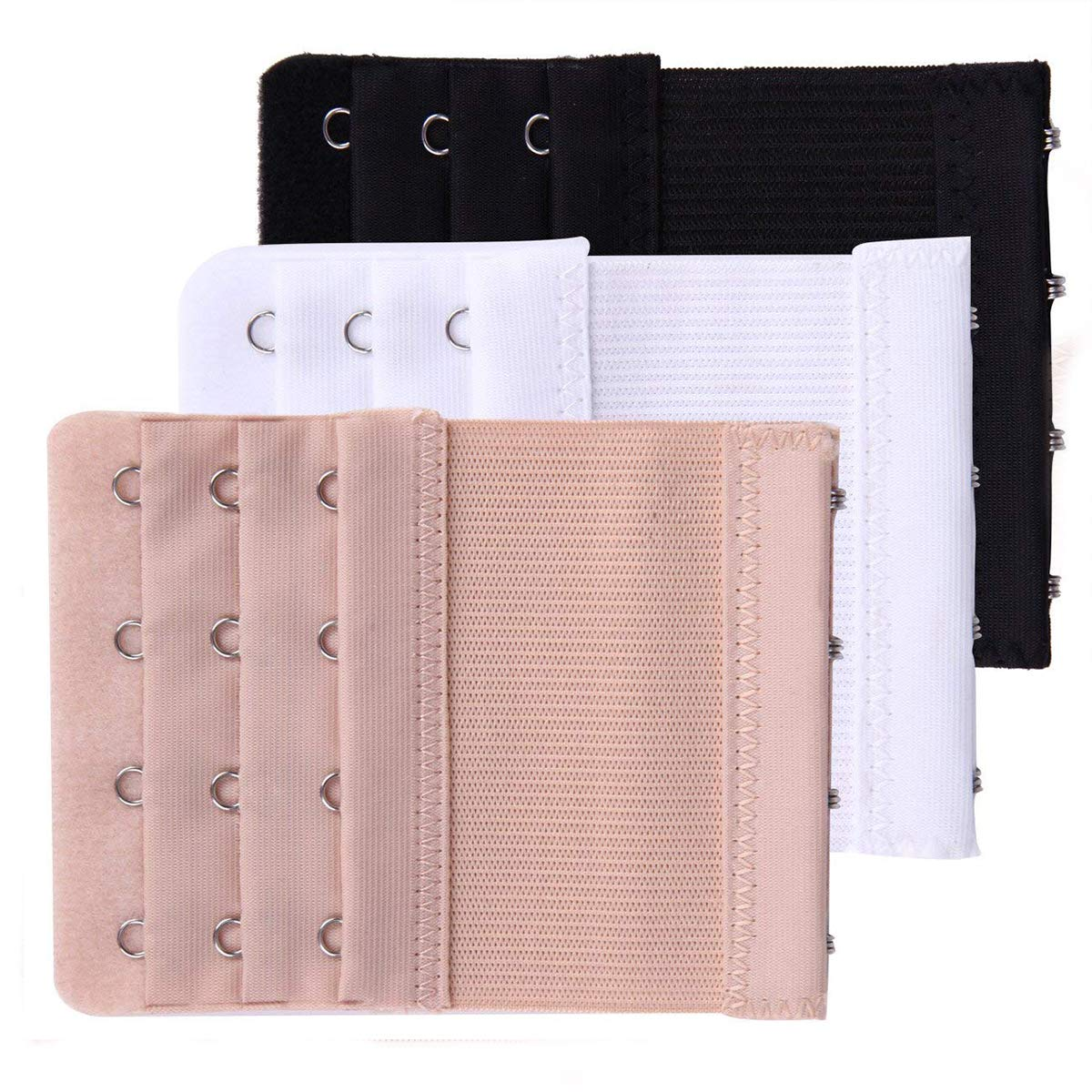 Skin Color Akstore 6 Pieces Womens Soft Comfortable Elastic Bra Extenders Bra Extension Strap 4 Hook 3 Row Ladys Bra Extender Bra Band