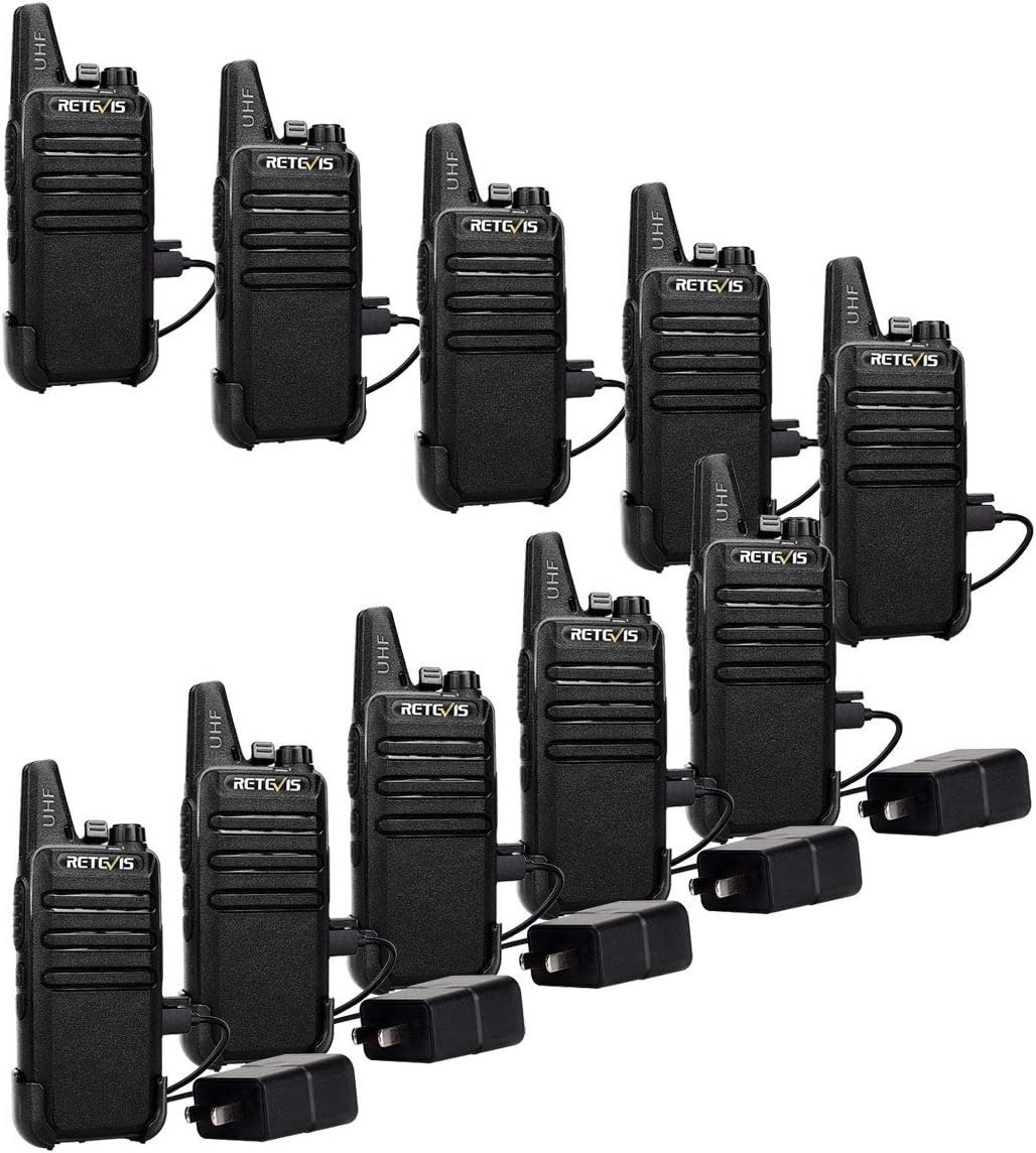 Retevis RT22 Two Way Radios Rechargeable Walkie Talkies 16 CH VOX Channel Lock Emergency Alarm 2 Way Radio 10 Pack