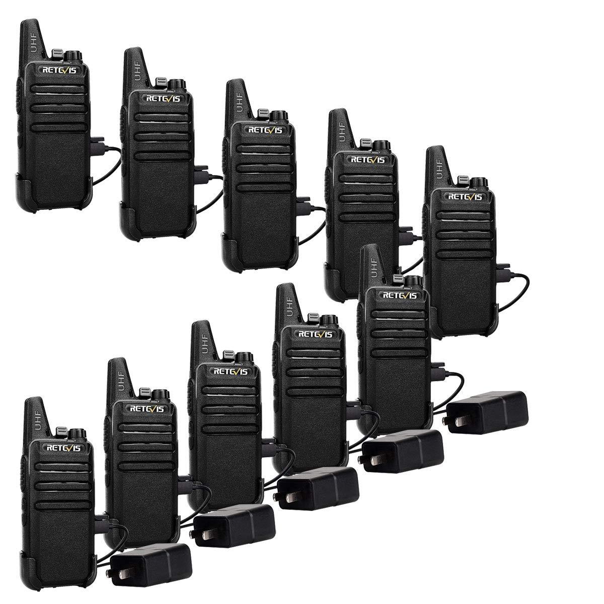 Retevis RT22 Two Way Radios Rechargeable Walkie Talkies 16 CH VOX Channel Lock Emergency Alarm 2 Way Radio(10 Pack) by Retevis