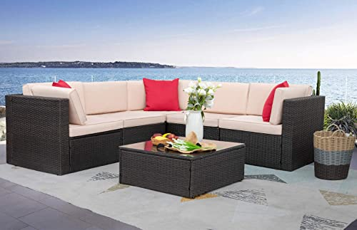 Homall Patio Furniture 6 Pieces Sets Outdoor Sectional Sofa All Weather PE Rattan Patio Conversation Set Manual Wicker Couch