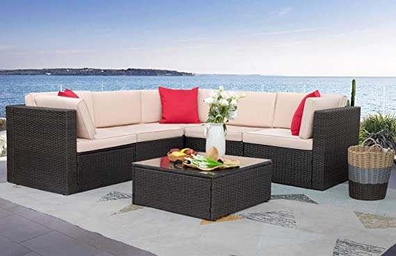 Homall 6 Pieces Furniture Outdoor Sectional Sofa All Weather Pe Rattan Patio Conversation Set Manual Wicker Couch With Cushions And Glass Table Beige Furniture Decor Amazon Com