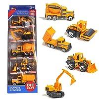 TH Vehicules Chantier Ensemble Metal Construction Petite Voiture Miniature Enfant 3 Ans et Plus (5 Pcs)