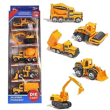 3 Años Juguetes De 4 Camiones Construcción Niños Metal Set Para 5 Mini Conjunto Cinco Vehículos Coches Th BCxoerd