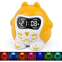 Kids Alarm Clock, Wake up Light Alarm Clock, Children Sleep Trainer, White Noise Machine with 9 Sounds, 7 Color Night Light, Dimmer, Nap Timer, Battery/Outlet Operated, Fun Faces, 12/24 H DST, Snooze