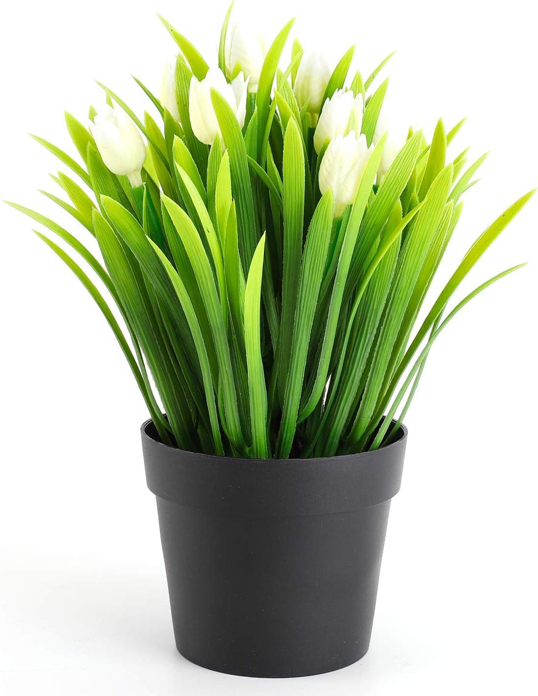 WOODWORD Artificial Plants for Room Decor - Potted Fake Plants for Home Decor - Face Plants in Black Pots for Bathroom Decor Office Decor