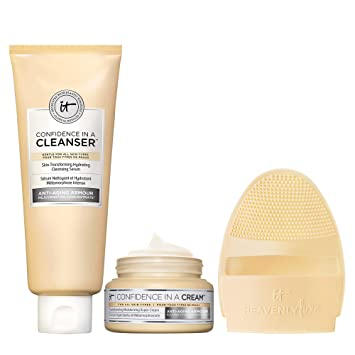 IT Cosmetics Cleanse & Hydrate Set - Includes Confidence in a Cream (2 oz), Confidence in a Cleanser (5 oz) + Heavenly Luxe Facial Cleansing & Exfoliating Mitt