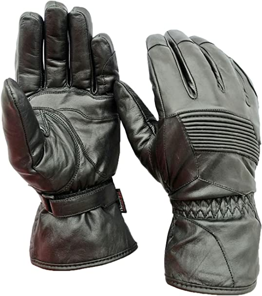 100/% Genuine Leather 3M Thinsulate Men Fashion Gloves Black Medium Lined driving