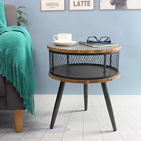 End Tables Living Room,Mid Century Nightstand for Bedrooms,Round Side  Table/Bedside Table,Small Table for Small Spaces,Accent Table,Grey & Metal  Wood ...