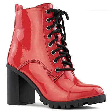 0e781c6ee76 RF ROOM OF FASHION Women s Lug Sole Platform Light Weight Stacked Heel Ankle  Boots RED Size