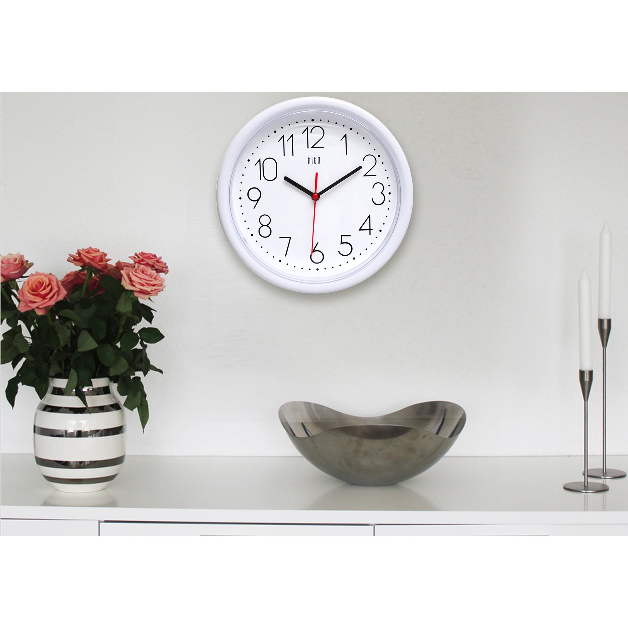 Hito Silent Wall Clock Non Ticking 10 Inch Excellent
