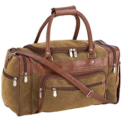 "17"" Brown Vegan Leather Duffle Tote Bag Gym Travel Carry On Mens Satchel Luggage"