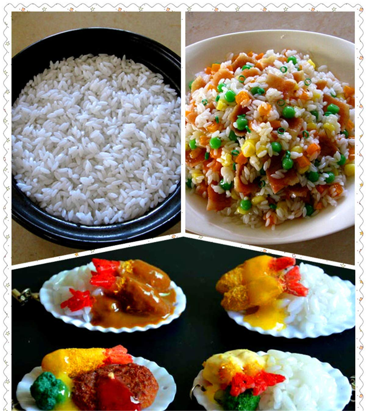 Zzooi Artificial Steamed Rice Display Props Simulated Cooked Rice with Bowl