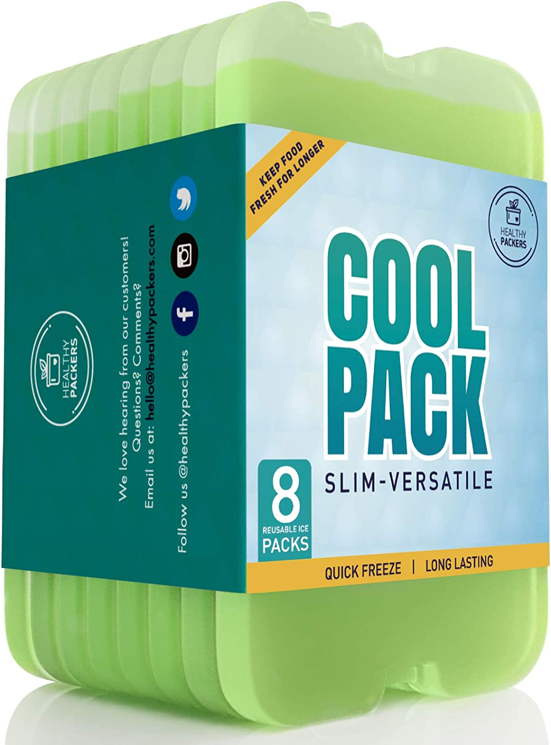 Healthy Packers Ice Pack for Lunch Box - Freezer Packs - Original Cool Pack | Slim & Long-Lasting Ice Packs for Your Lunch or Cooler Bag (8-Pack)