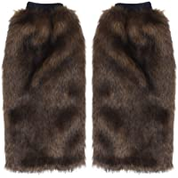 Toyvian 40cm Faux Fur Leg Warmer Furry Cuffs Boot Covers for Women Girls Brown