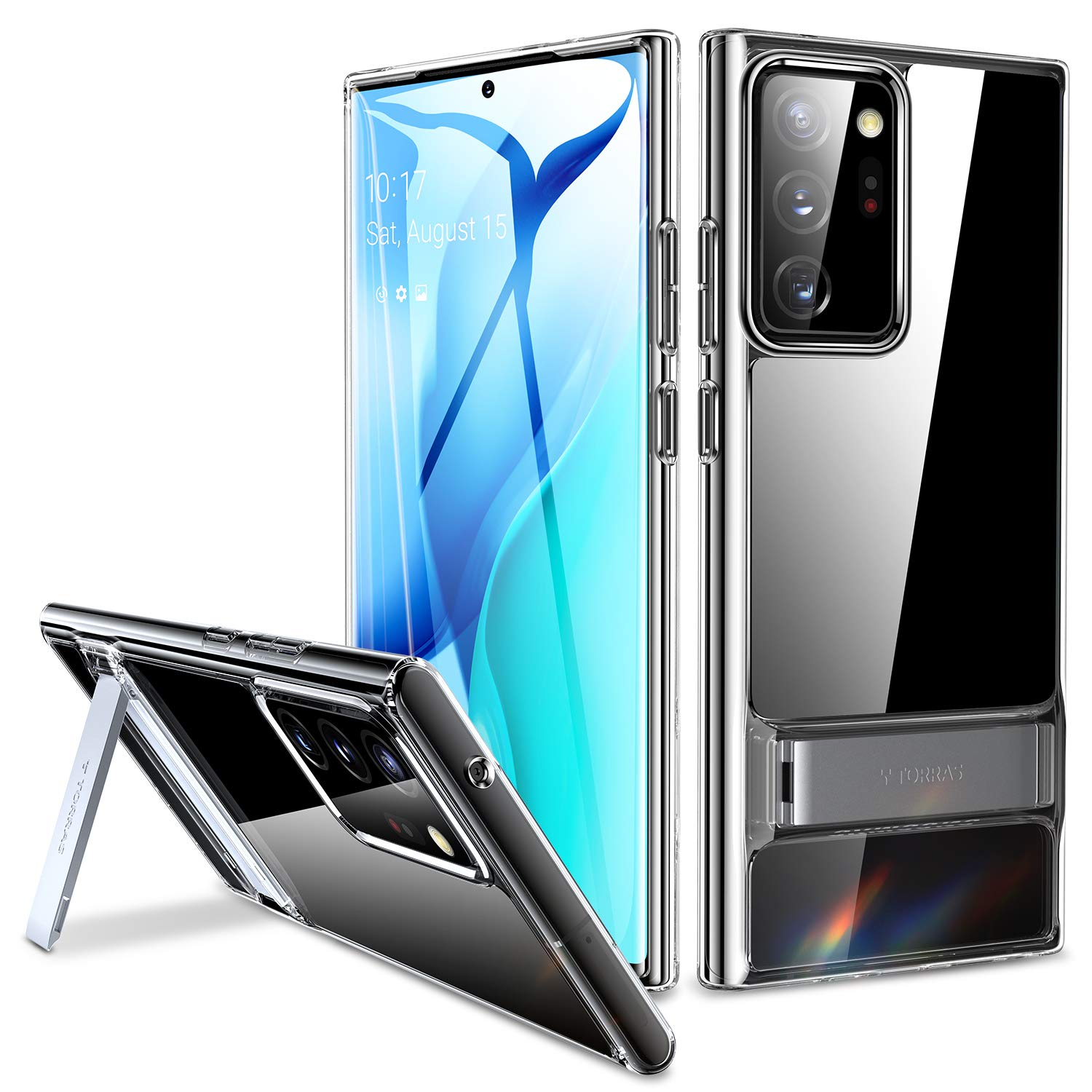 TORRAS MoonClimber Compatible for Samsung Galaxy Note 20 Ultra Case [Upgraded Military Armor-Level Shockproof] Protective Slim Hard Phone Case with Metal Kickstand-Transparent