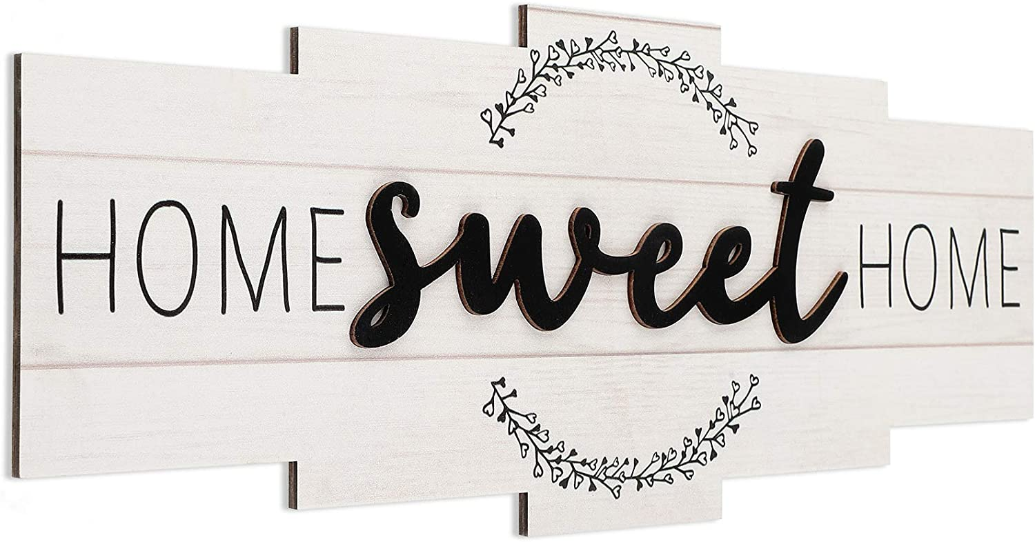 Home Sweet Home Sign, Rustic Wood Home Wall Decor, Large Farmhouse Home Sign Plaque Wall Hanging for Bedroom, Living Room, Wall, Wedding Decor (Light Color)