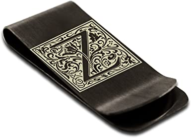 Letter Z Etched Monogram Money Clip