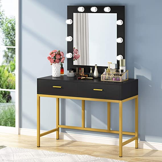 Amazon Com Tribesigns Vanity Table With Lighted Mirror Makeup Vanity Dressing Table With 9 Lights And 2 Drawers For Women Dresser Desk Vanity Set For Bedroom Gold Black Kitchen Dining