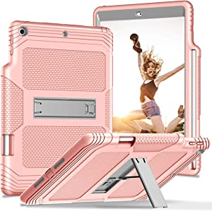 ZHK for iPad 7th Generation Case with Pencil Holder, iPad 10.2 2019 Case, Built-in Kickstand Rugged Heavy Duty Shockproof Case Hybrid 3 Layer Full-Body Protective Case for Apple iPad 10.2 Inch