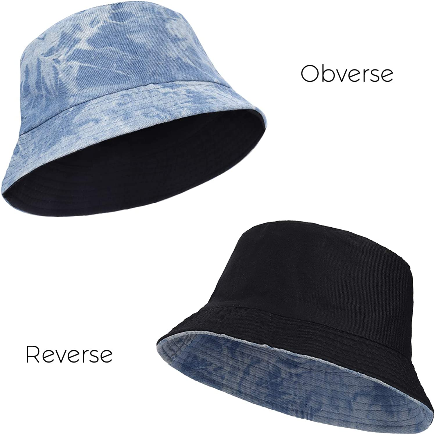Cotton Denim Beach Sun Cap for Women Men with Reversible Double-Side Wear Packable Summer Fishermans Headwear Accessories for Vacation Travel Fishing Hiking Light Blue RZKJ-SHOP Bucket Hat