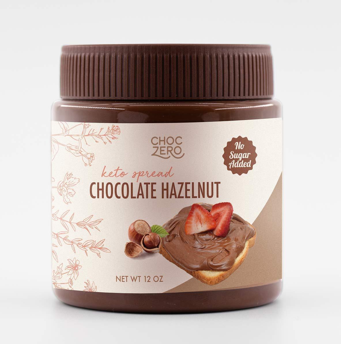 ChocZero Keto Milk Chocolate Hazelnut Spread - Keto Friendly, No Sugar Added, Best Low Carb Dessert, Perfect Topping for Almond Flour Pancakes, Naturally Sweetened with Monk Fruit (1 jar, 12 oz)