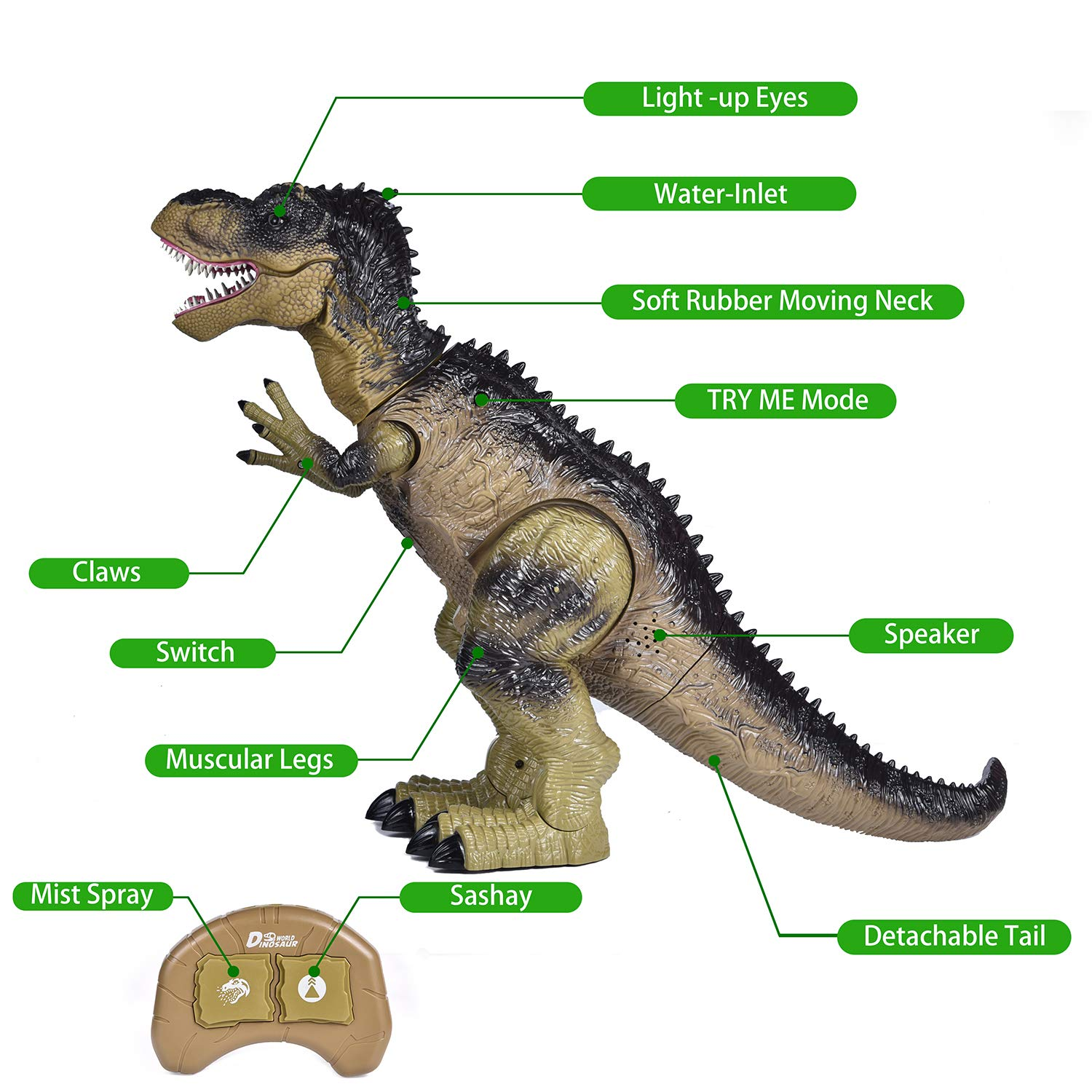 Remote Control Dinosaur for Kids, Electronic Walking & Spray Mist Large Dinosaur Toys with Glowing Eyes, Roaring Dinosaur Sound,18.5'' Realistic T-Rex Toy for Boys by FUN LITTLE TOYS (Image #5)