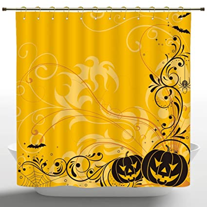 European Shower Curtain By IPrintHalloween DecorationsCarved Pumpkins With Floral Patterns Bats And