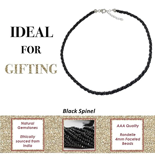 bellamira Rejuvenate & Renew plata de ley negro Spinel collar artesanal hecha a mano en la India Fine joyas en caja de regalo de venta al por menor: ...