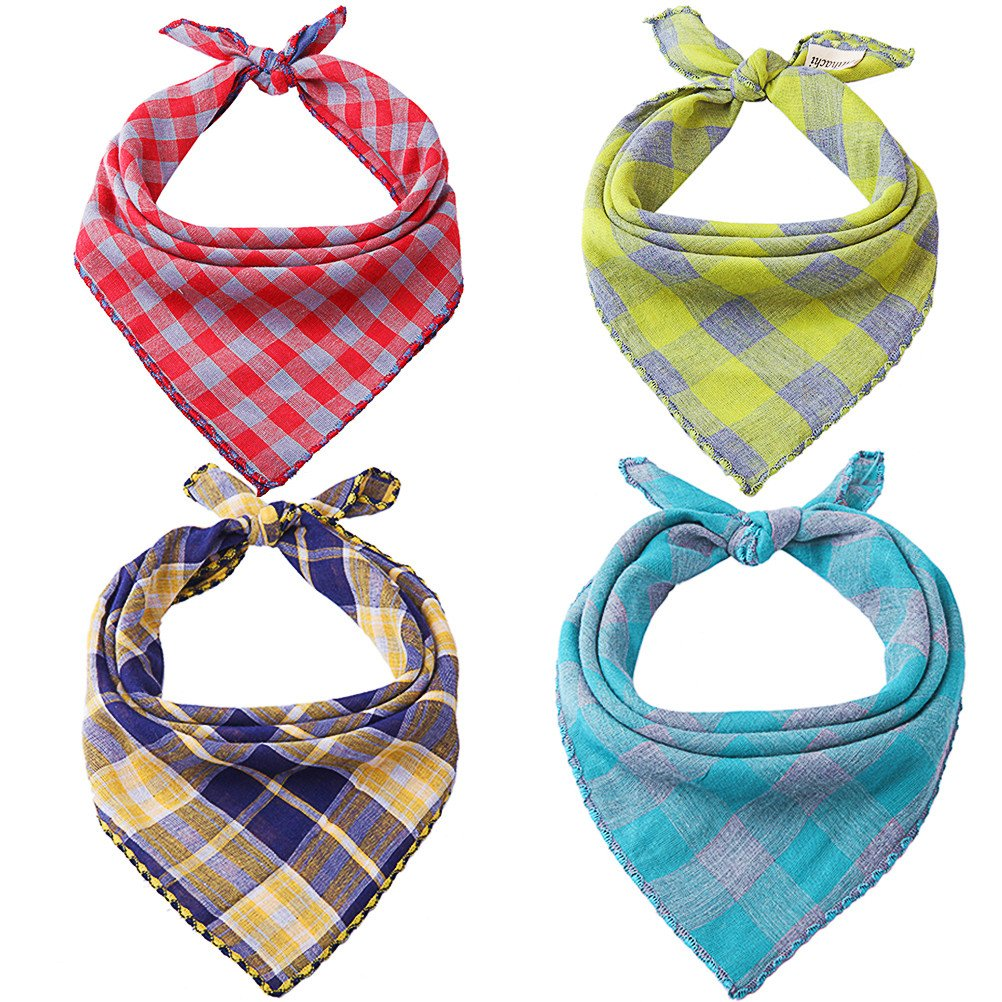 Mihachi Dog Bandanas - 4 Pack Bibs Scarfs, Plaid Washable Reversible Triangle Kerchief for Pets