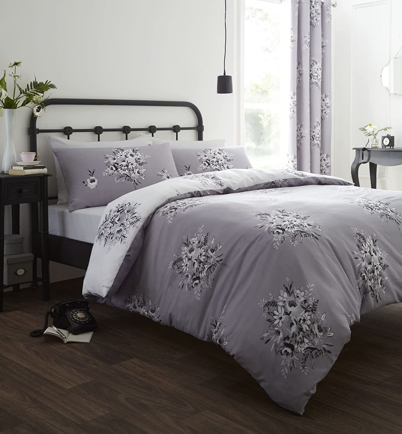 Catherine Lansfield Floral Bouquet Easy Care Double Duvet Set Grey Turner Bianca BD/40832/W/DQS/GY