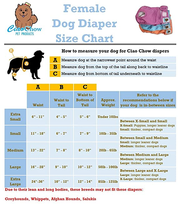 Amazon Ciao Chow Female Dog Diapers Adjustable Absorbent