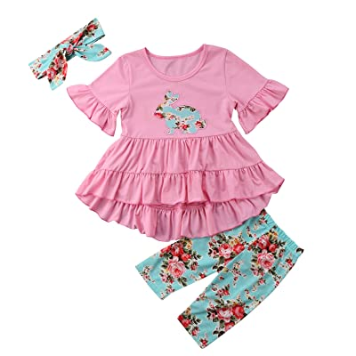 0dce18ab6066 Opperiaya Toddler Baby Girl Easter Outfit Floral Ruffles Tunic Dress  Leggings Headband Clothes Set
