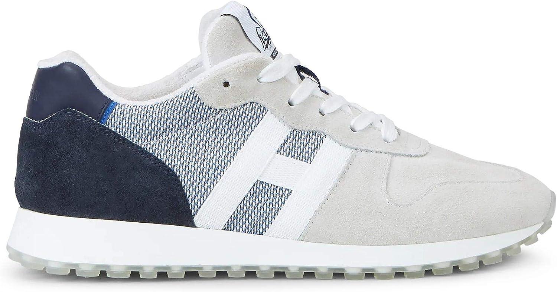 Hogan HXM4290AN51 N1H803X - Zapatillas deportivas para hombre H383, color azul hielo y ante