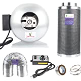 Growsun Low Noise and Efficient Odor Removal 6 Inch Inline Fan Carbon Filter Fan Combo for Grow Tent Kit and Growing System Include Fans Speed Controller 30 yard Duct Tape and 25-Feet Ducting