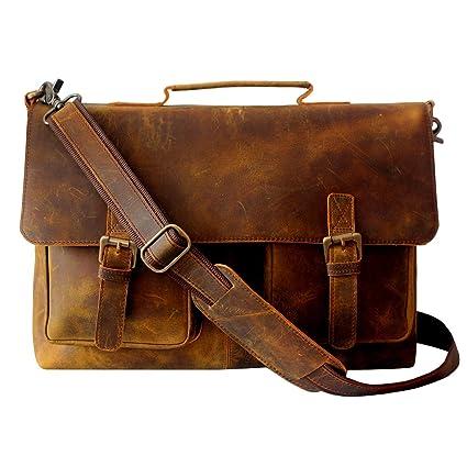 2e387a837b4c Amazon.com  LUST 15 Inch Retro Buffalo Hunter Leather Laptop ...