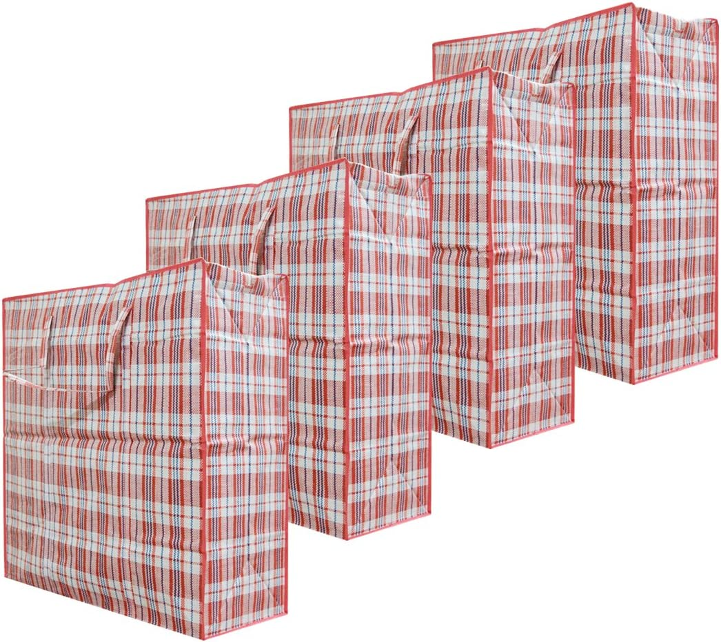 "Set of 4 Extra-Large Plastic Checkered Storage Laundry Shopping Bags W. Zipper & Handles Size 23""x23""x5"" Assorted Colors"