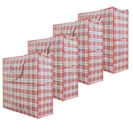 Cotton Fly Set of 4 Extra-Large Plastic Checkered Storage Laundry Shopping Bags W. Zipper & Handles Size 23