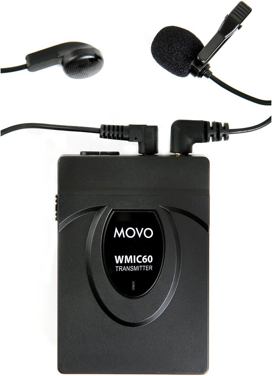 Includes Transmitter with Belt Clip, Receiver with Camera Shoe, Lapel Mic and 2 Earphones Movo WMIC60 2.4GHz Wireless Lavalier and Handheld Microphone System with Integrated 164-foot Range Antenna