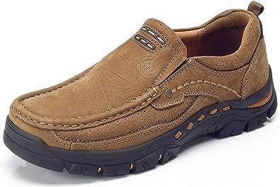 CAMEL CROWN Chaussure de Cuir Homme, Hommes Mocassins Décontractés Chaussures Bateau Plates, Respirant Doux Confort Chaussures de Conduite Dressing