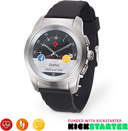 MyKronoz ZeTime Original Hybrid Smartwatch 44mm with Mechanical Hands Over a Color Touch Screen – Brushed Silver/Black Silicon Flat - Best Kickstarter ...