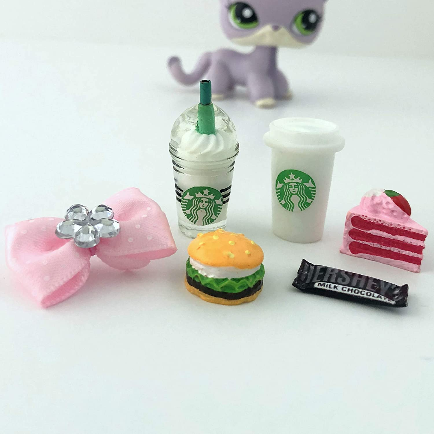 Littlest Pet Shop Accessories LPS 6 PC Lot Bow Coffee Cake CAT NOT Included /…